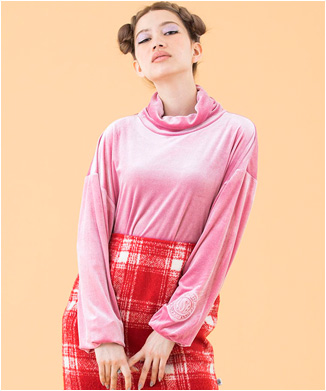 【little sunny bite】colorful Velor high neck top