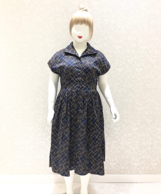 【Collectif】JUDY HATCH CHECK SWING DRESS